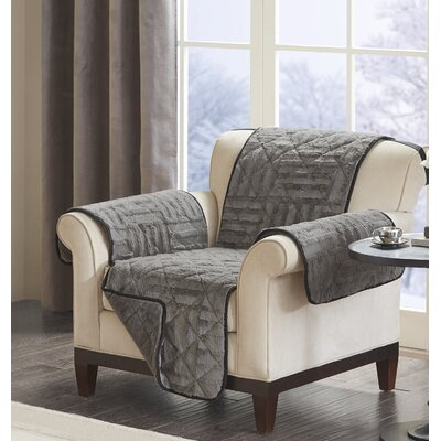 Floral Cotton Printed Reversible Box Cushion Armchair Slipcover Upholstery: Polyester Geometric Gray