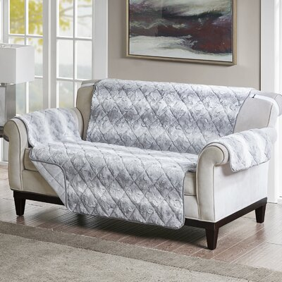 Floral Cotton Printed Reversible Box Cushion Loveseat Slipcover Upholstery: Polyester Solid Light Gray
