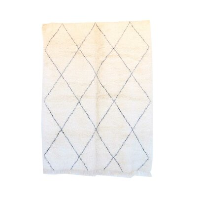 One-of-a-Kind Beni Ourain Moroccan Hand-Knotted Wool White Area Rug Rug Size: Rectangle 67 x 81