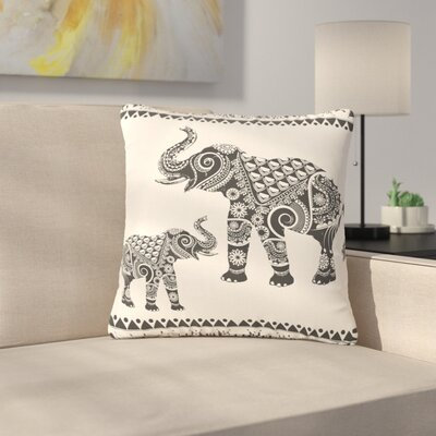 Famenxt Ornate Indian Elephant-Boho Outdoor Throw Pillow Size: 18 H x 18 W x 5 D
