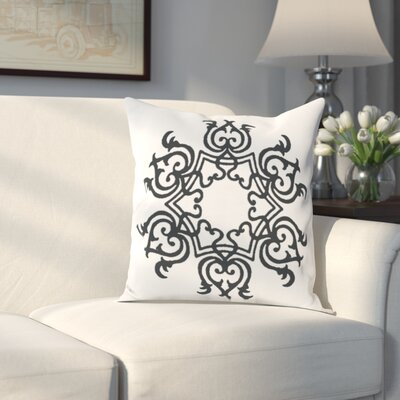 Poestenkill Floral Motif Throw Pillow Size: 16 H x 16 W, Color: White