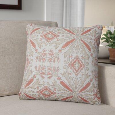 Peyman Damask Cotton Throw Pillow Color: Coral