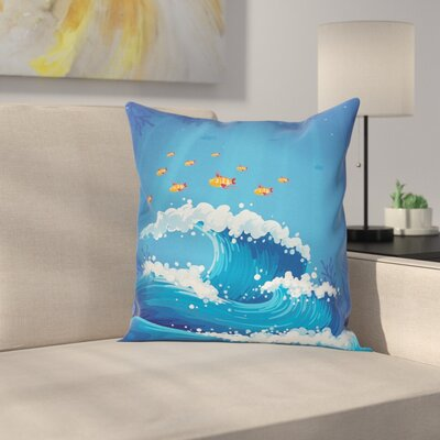 Fish and Wave in Ocean Cushion Pillow Cover Size: 18 x 18