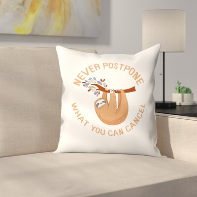 Sloth Cancel Throw Pillow Size: 20 x 20