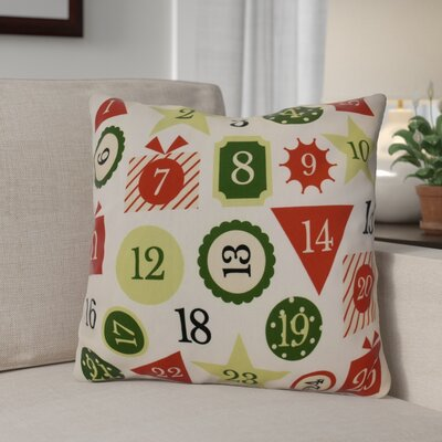 Advent Calendar Throw Pillow Size: 16 H x 16 W, Color: Red