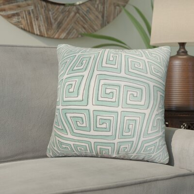 Wendy Geometric Cotton Throw Pillow Color: Blue