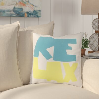 Chaucer Just Relax Outdoor Throw Pillow Size: 18 H x 18 W x 4 D, Color: Aqua/Lime