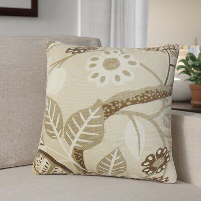 Ashville Floral Cotton Throw Pillow Color: Ivory, Size: 18 x 18