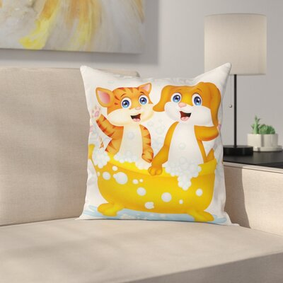Cartoon Cat and Dog Bath Square Pillow Cover Size: 16 x 16