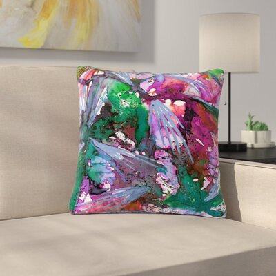 Ebi Emporium Birds of Prey - Tropical Outdoor Throw Pillow Size: 18 H x 18 W x 5 D, Color: Green/Pink