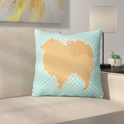 Pomeranian Square Indoor/Outdoor Throw Pillow Size: 14 H x 14 W x 3 D, Color: Blue