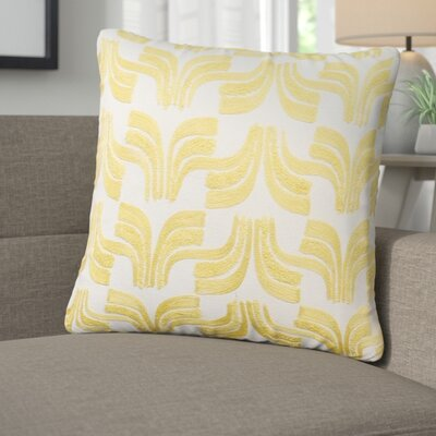 Warnke Geometric Embroidered 100% Cotton Throw Pillow Color: Yellow
