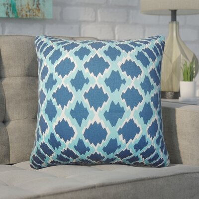 Geno Geometric Cotton Throw Pillow Color: Blue