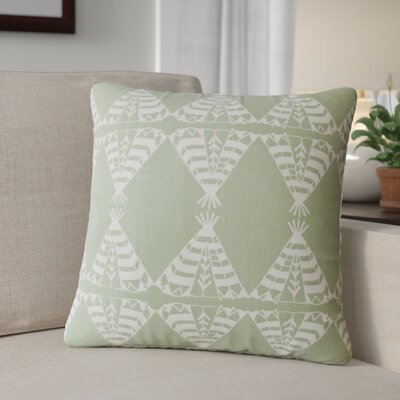 Roi Graphic Cotton Throw Pillow Color: Green