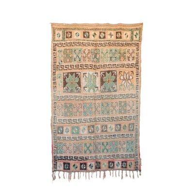 One-of-a-Kind Zayane Moroccan Hand-Knotted Wool Beige/Aqua Area Rug