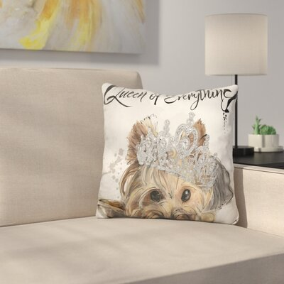 Queen of Everything Yorkie Throw Pillow