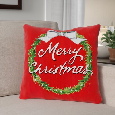 Merry Christmas Wreath Throw Pillow Size: 18