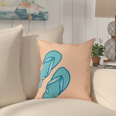 Granata Flip Flops Geometric Print Throw Pillow Size: 18 H x 18 W, Color: Coral