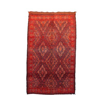 One-of-a-Kind Beni MGuild Moroccan Hand-Knotted Wool Red/Orange Area Rug