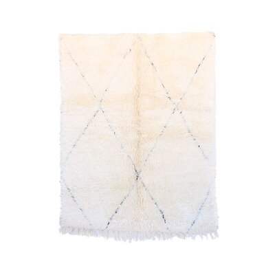 One-of-a-Kind Beni Ourain Moroccan Hand-Knotted Wool White Area Rug Rug Size: Rectangle 52 x 64