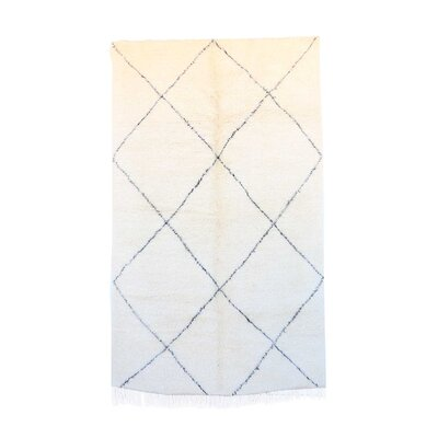 One-of-a-Kind Beni Ourain Moroccan Hand-Knotted Wool White Area Rug Rug Size: Rectangle 511 x 99