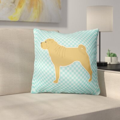 Shar Pei Indoor/Outdoor Throw Pillow Size: 18 H x 18 W x 3 D, Color: Blue