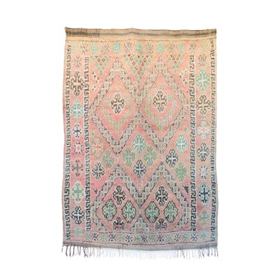 One-of-a-Kind Zayane Moroccan Hand-Knotted Wool Pink/Beige Area Rug
