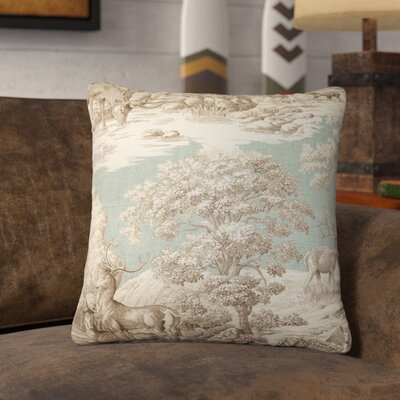 Elijah Toile Square Cotton Throw Pillow Cover Size: 18 x 18, Color: Aqua