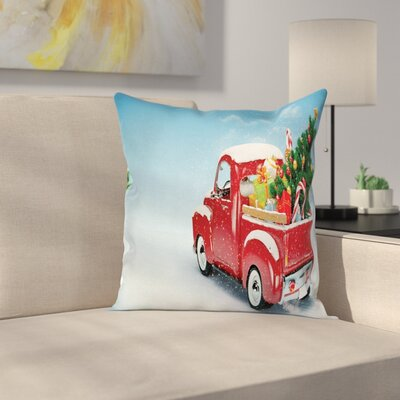 Christmas Truck Xmas Tree Square Pillow Cover Size: 24 x 24