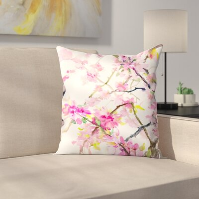 Suren Nersisyan Cherry Blossom Throw Pillow Size: 18 x 18