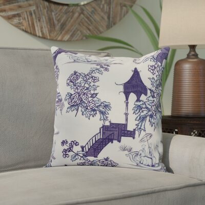 Hirst China Old Floral Print Indoor/Outdoor Throw Pillow Color: Navy Blue, Size: 18 x 18