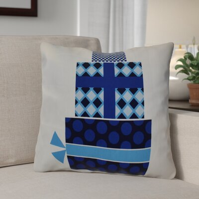 Christmas Decorative Holiday Geometric Print Square Throw Pillow Size: 26 H x 26 W, Color: Navy Blue