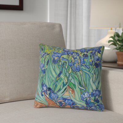 Morley Irises Pillow Cover Size: 16 x 16, Color: Green/Purple