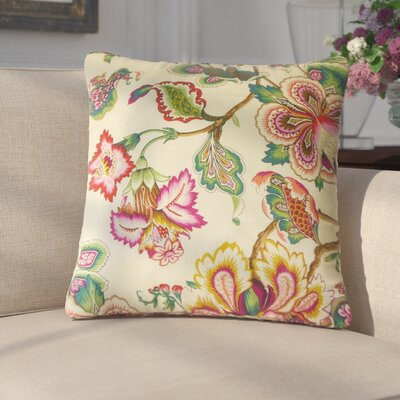 Basilio Floral Cotton Throw Pillow Color: Yellow/Rose