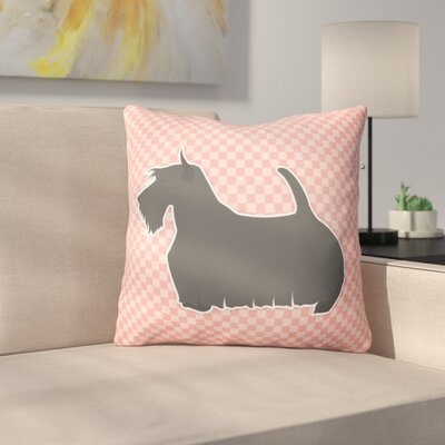 Scottish Terrier Square Indoor/Outdoor Throw Pillow Size: 18 H x 18 W x 3 D, Color: Pink