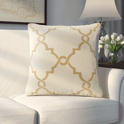 Allard Fretwork Throw Pillow Color: Beige/Gold