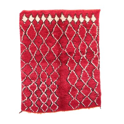 One-of-a-Kind Azilal Moroccan Hand-Knotted Wool Red Area Rug