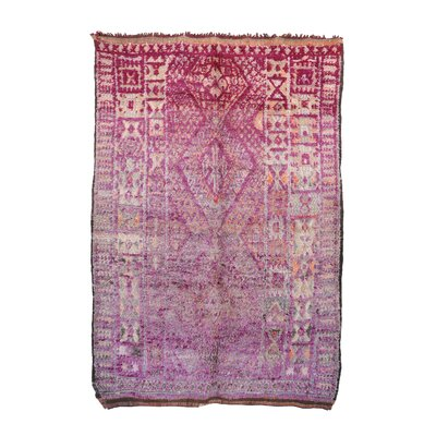 One-of-a-Kind Beni MGuild Moroccan Hand-Knotted Wool Pink Area Rug
