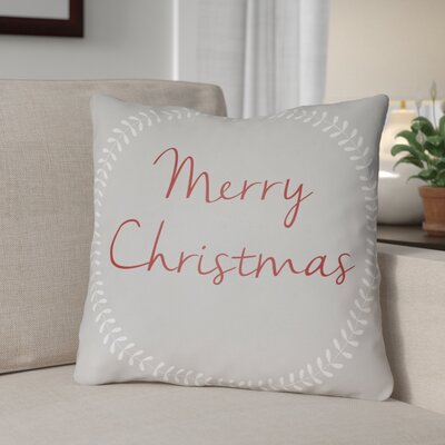 Merry Christmas Outdoor Throw Pillow Size: 20 H x 20 W x 4 D, Color: Gray