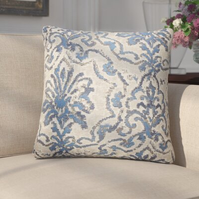 Cesare Damask Throw Pillow Color: Blue