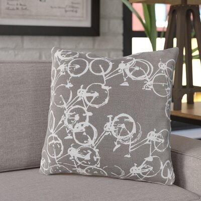 Ellen Bicycle Print Throw Pillow Size: 18 H x 18 W x 4 D, Color: Dark Gray / Ivory, Filler: Polyester