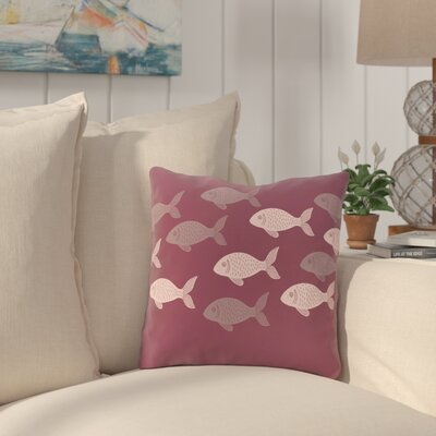 Golden Lakes Fish Line Throw Pillow Size: 16 H x 16 W, Color: Purple