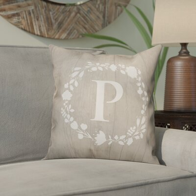 Orme Wreath Monogram Throw Pillow Letter: P