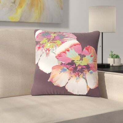 Graphic Flower Nasturtium Throw Pillow Size: 18 H x 18 W x 6 D, Color: Lavender