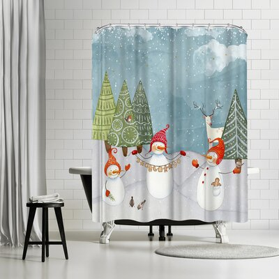 Grab My Art Playing Snowmen In Winterforest Shower Curtain