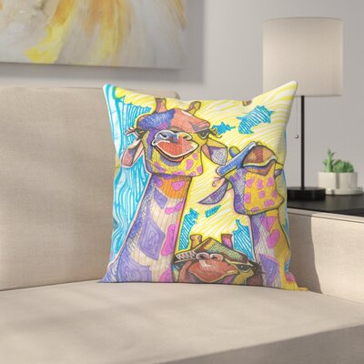 Three Giraffes Throw Pillow Size: 14 x 14