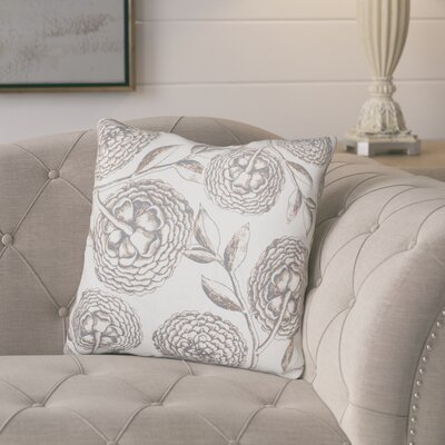 Jud Blooms Antique Flower Throw Pillow Size: 18 H x 18 W, Color: Taupe