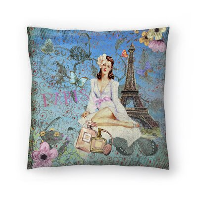 Luxury Fashion Girl Retro in Paris Throw Pillow Size: 16 x 16