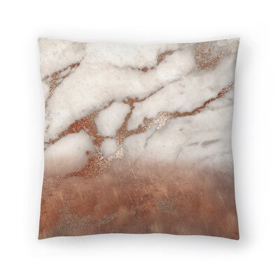 Luxury Metal and Luxury Marble Texture Throw Pillow Size: 14 x 14