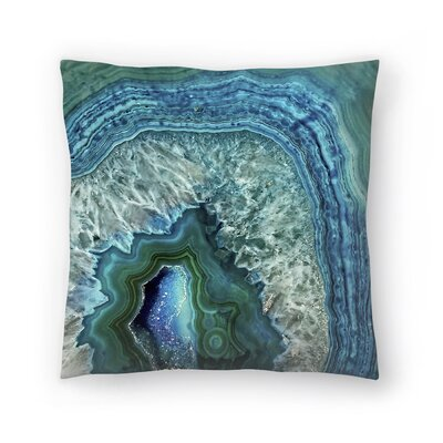 Teal Luxury Gem Stone Agate Marble Throw Pillow Size: 18 x 18
